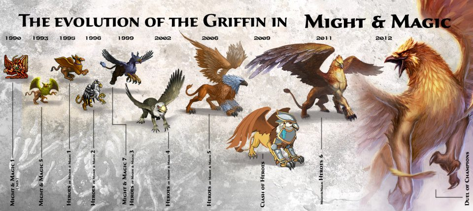Эволюция грифоновGriffins, as well as Minotaurs, were first introduced in Might & Magic 1 in 1990 and from then appeared in Might & Magic 5 and 7, Heroes 1, 2, 3, 4, 5, 6, in Clash of Heroes and more recently in Duel of Champions.